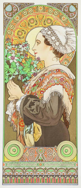 Alfons Mucha Painting - Thistle On A Sandy Beach - Digital Remastered Edition by Alfons Maria Mucha