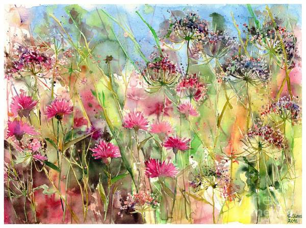 Ireland Painting - Thistles Impression II by Suzann's Art