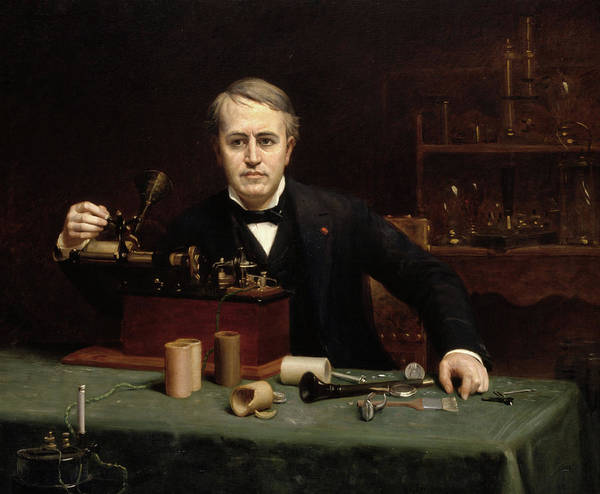 Wall Art - Painting - Thomas Alva Edison, 1890 by Abraham Archibald Anderson