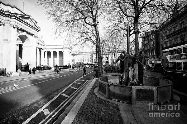 Wall Art - Photograph - thomas davis memorial fountain and college green Dublin Republic of Ireland Europe by Joe Fox