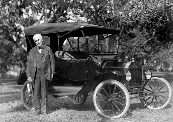 Journey Photograph - Thomas Edison And His 1914 Ford Touring by New York Daily News Archive