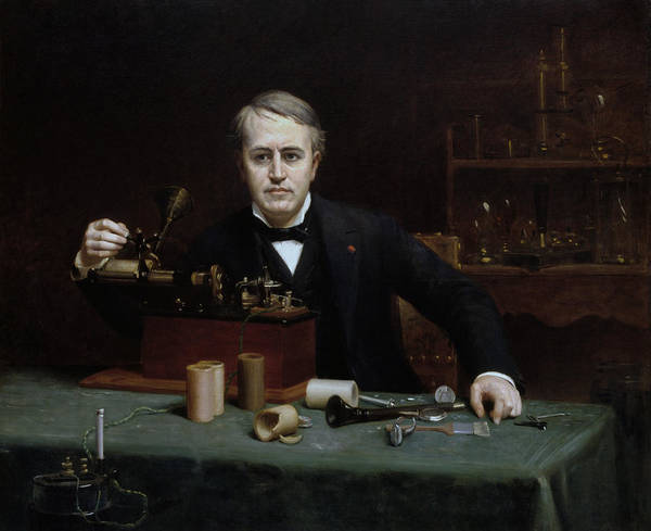 Wall Art - Painting - Thomas Edison In His Laboratory by War Is Hell Store