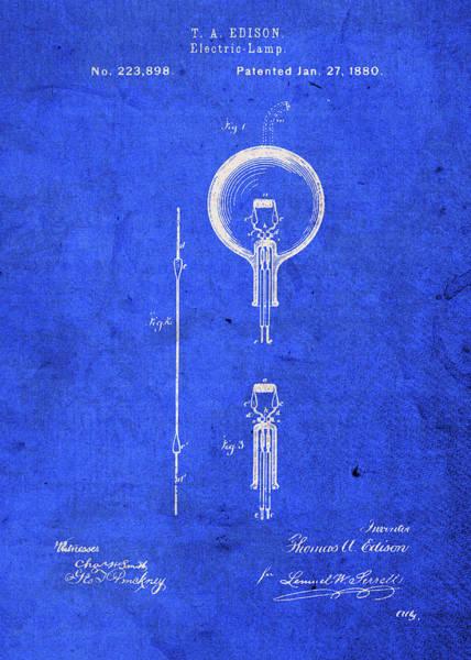 Lights Mixed Media - Thomas Edison Light Bulb Patent by Design Turnpike