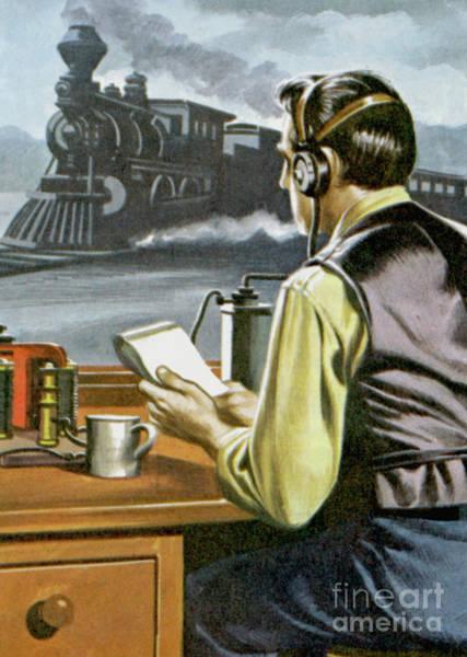 Wall Art - Painting - Thomas Edison, The Railway Telegraphist  by Ron Embleton