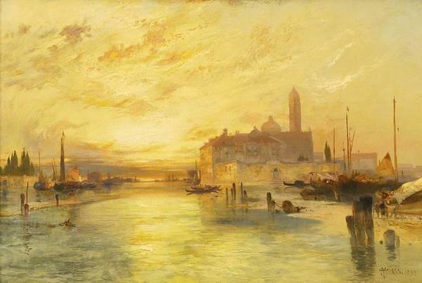 Wall Art - Painting - Thomas Moran 1837-1926 Sunset In Venice by Thomas Moran