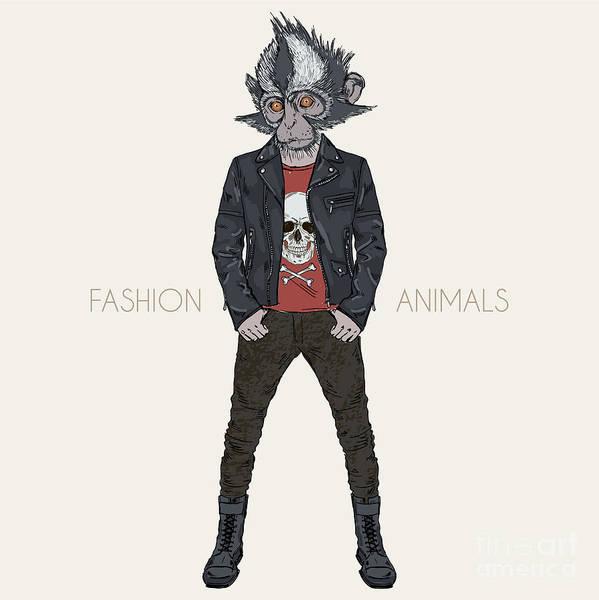 Boots Wall Art - Digital Art - Thomass Leaf Monkey Dressed Up In Punk by Olga angelloz