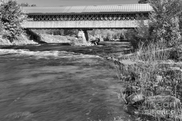 Photograph - Thompson Covered Bridge Over The Ashuelot River Black And White by Adam Jewell