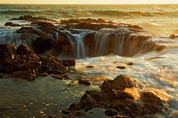 Cape Perpetua Wall Art - Photograph - Thors Well by Nick Boren Photography