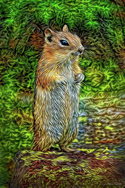 Digital Art - Thoughtful Chipmunk by Joel Bruce Wallach