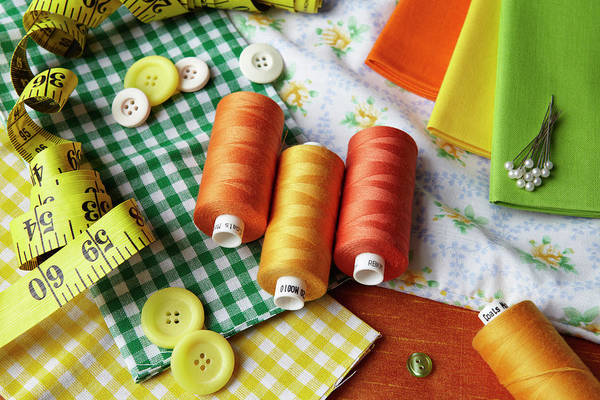 Cushion Photograph - Thread, Buttons, Measuring Tape On Desk by Debby Lewis-harrison