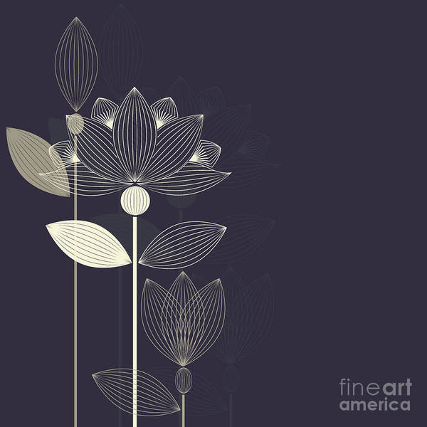 Wall Art - Digital Art - Three Abstract Lotus Flower On The Dark by Lena Livaya