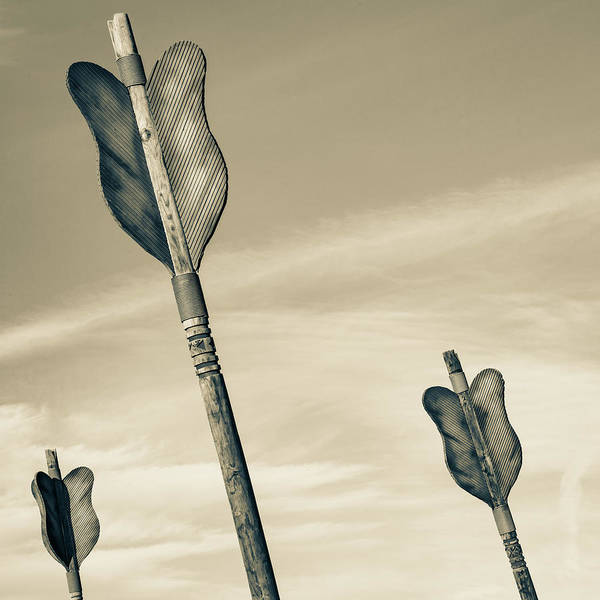 Photograph - Three Arrows - Downtown Fort Smith Arkansas - Sepia by Gregory Ballos