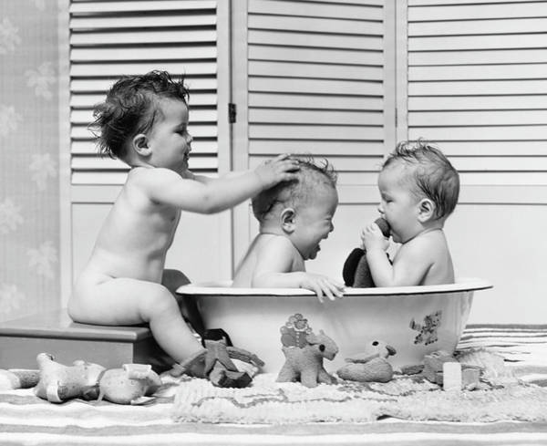 Three Babies In Wash Tub, Bathing Art Print