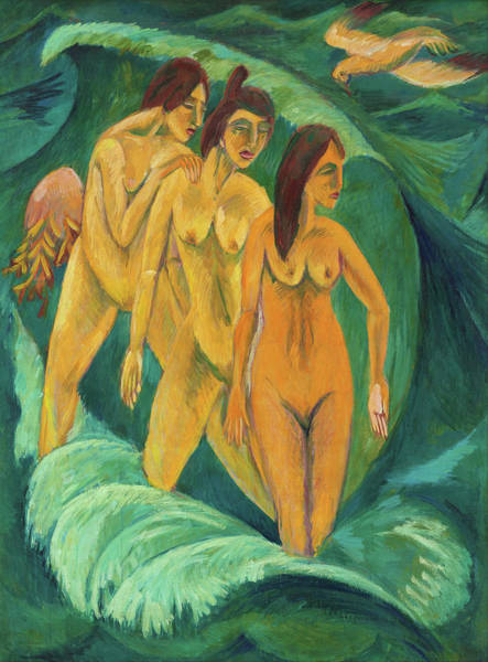Wall Art - Painting - Three Bathers - Digital Remastered Edition by Ernst Ludwig Kirchner