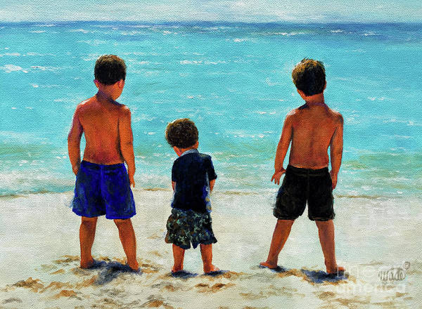 Wall Art - Painting - Three Beach Boys Aqua Sea Brunettes by Vickie Wade