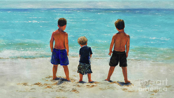 Wall Art - Painting - Three Beach Boys Aqua Sea by Vickie Wade