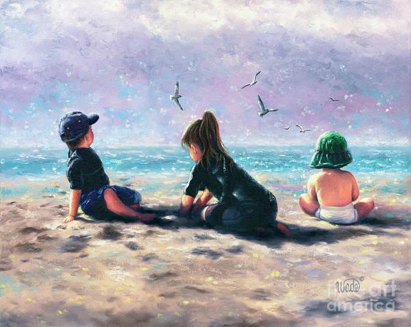 Wall Art - Painting - Three Beach Children Beach Buddies by Vickie Wade