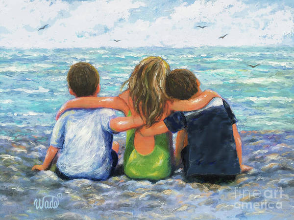 Wall Art - Painting - Three Beach Children Hugging Brunette Boys by Vickie Wade