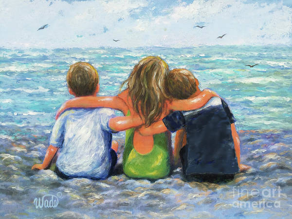 Wall Art - Painting - Three Beach Children Hugging Two Boys And Girl by Vickie Wade