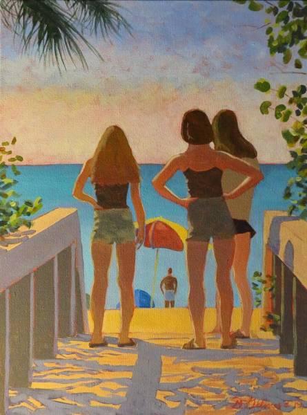 Painting - Three Beach Girls by David Gilmore