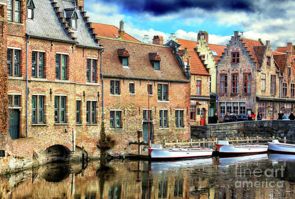 Wall Art - Photograph - Three Boats On The Canal In Bruges by John Rizzuto