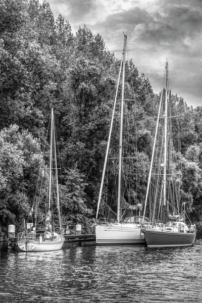 Photograph - Three Boats On The River Black And White by Debra and Dave Vanderlaan