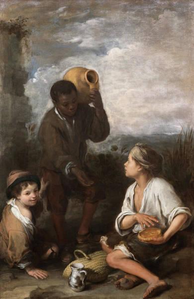 Wall Art - Painting - Three Boys, 1660 by Bartolome Esteban Murillo
