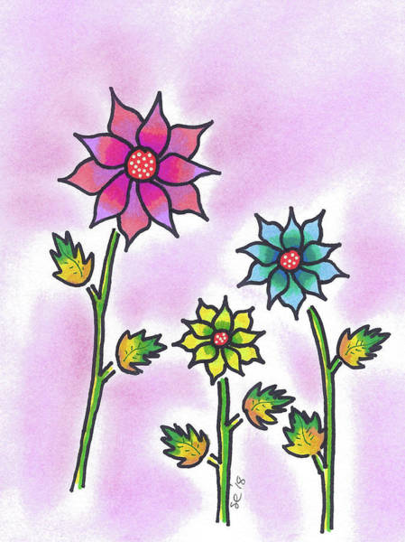 Painting - Three Bright Flowers by Susan Campbell