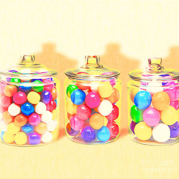 Photograph - Three Candy Jars Big Bigger Biggest Pop Art 20180925 Square by Wingsdomain Art and Photography