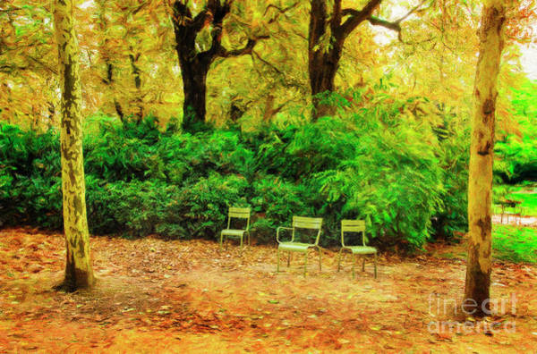 Photograph - Three Chairs Of Luxenburg Gardens by Craig J Satterlee