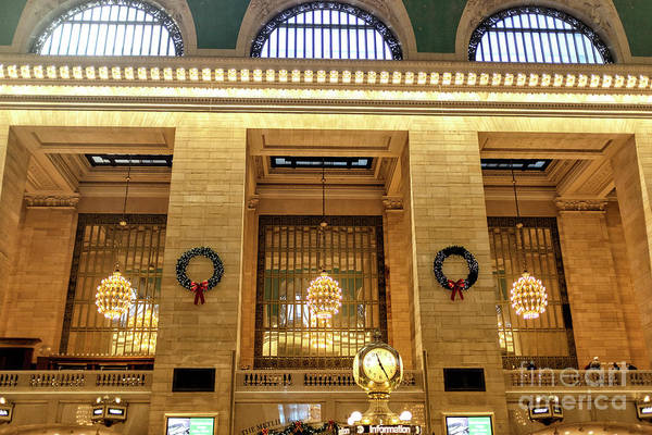 Photograph - Three Chandeliers At Grand Central Terminal by John Rizzuto