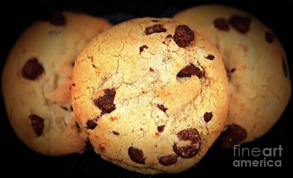 Photograph - Three Chocolate Chip Cookies by John Rizzuto