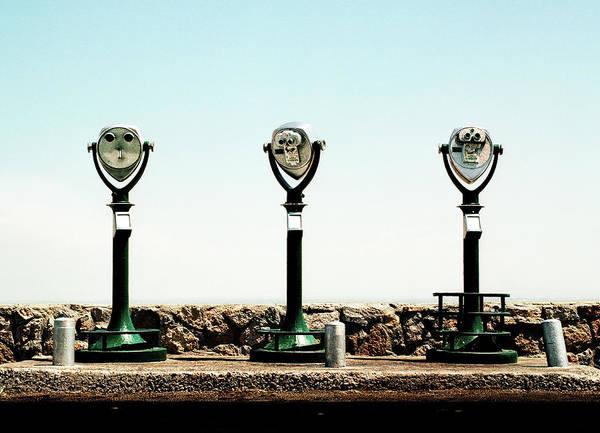 Binoculars Photograph - Three Coin Operated Binoculars In Row by A.c.