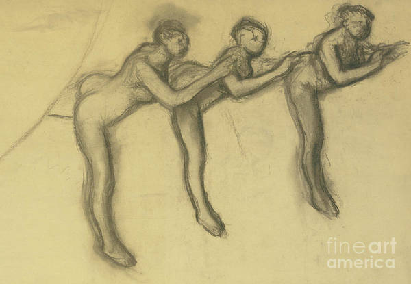 Wall Art - Pastel - Three Dancers In Tights, Detail  by Edgar Degas