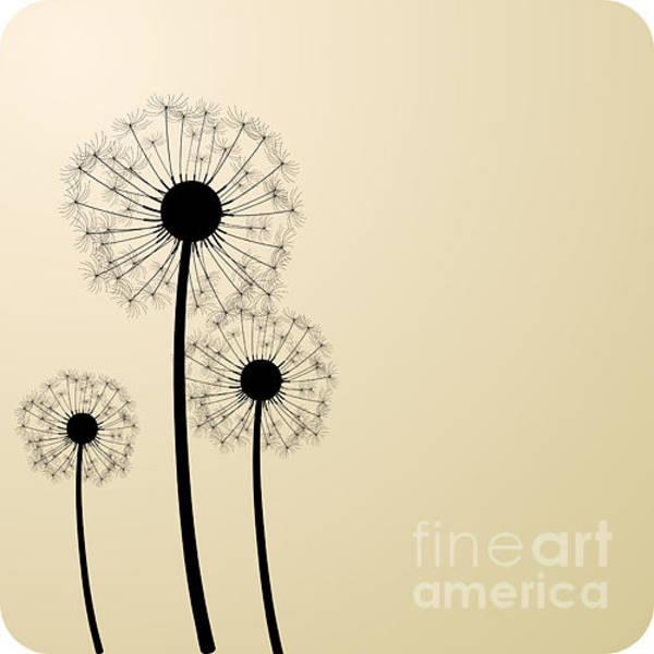 Wall Art - Digital Art - Three Dandelion Silhouettes. Vector by Vjom