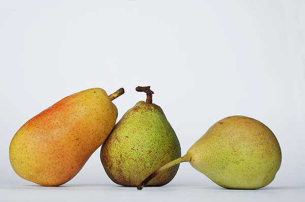 Healthy Eating Photograph - Three Diferent Pears Isolated On Grey by Irantzu Arbaizagoitia Photography
