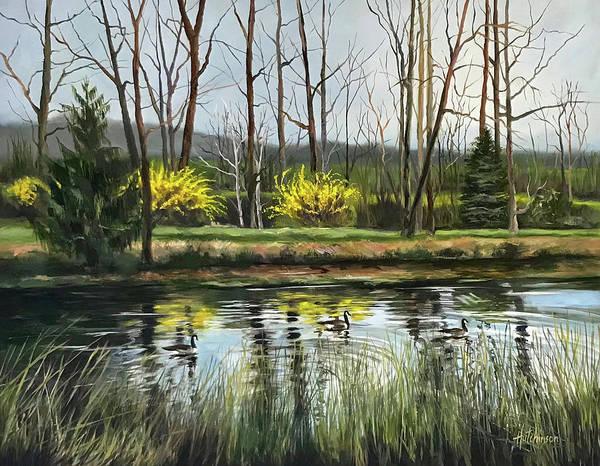 Forsythia Painting - Three Fields Farm by Diane Hutchinson