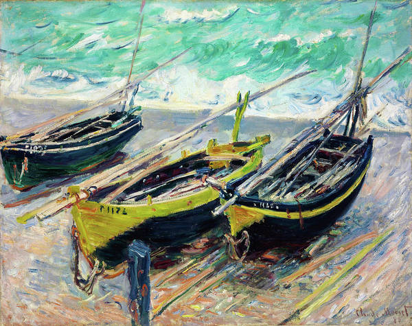 Riverbed Painting - Three Fishing Boats - Digital Remastered Edition by Claude Monet