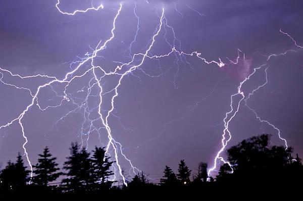 Cedar Tree Photograph - Three Frames Of Lightning Hitting Cedar by Utah-based Photographer Ryan Houston