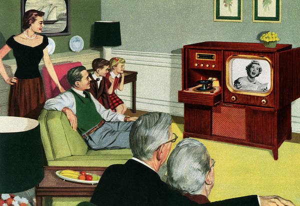 Three Generations Watching Tv Art Print