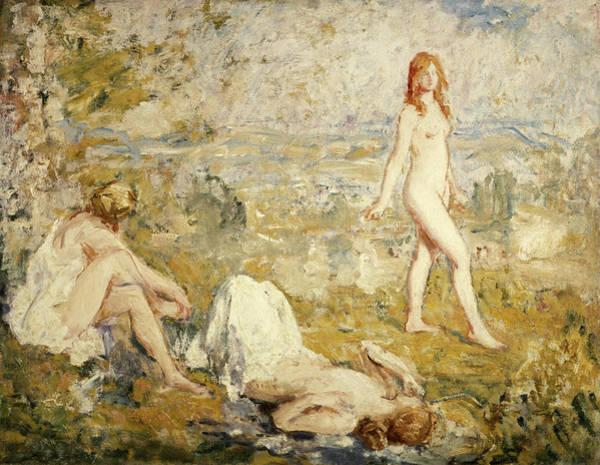 Sunbather Wall Art - Painting - Three Girls Bathing, Thame, 1911 by Philip Wilson Steer