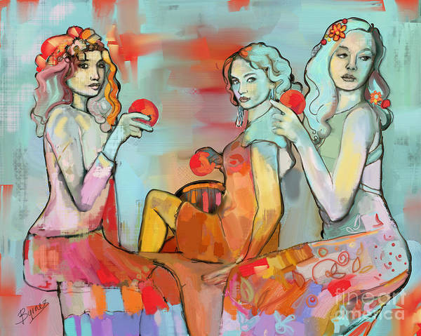 Wall Art - Painting - Three Graces 19 by Carrie Joy Byrnes