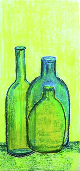 Wall Art - Painting - Three Green Bottles by Asha Sudhaker Shenoy