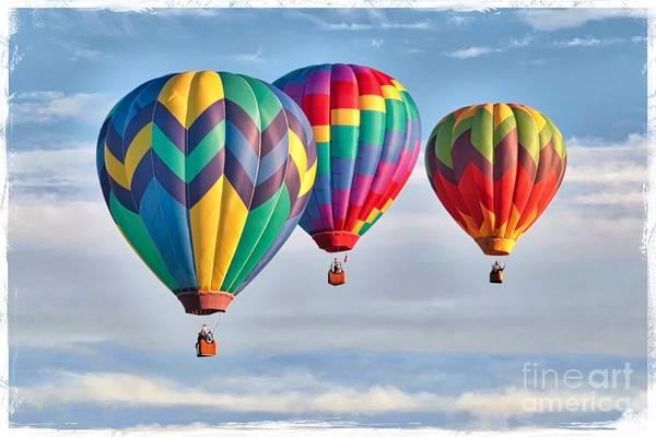Wall Art - Photograph - Three Hot Air Balloons With Border by Carol Groenen