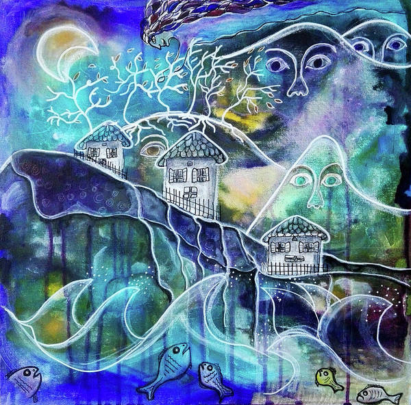 Mixed Media - Three Houses On A Cliff by Mimulux patricia No