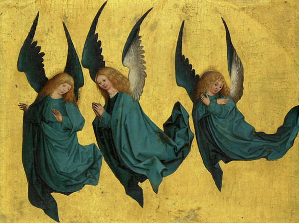 Wall Art - Painting - Three Hovering Angels by Meister des Monis-Altars