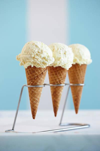 Ice Cream Photograph - Three Ice Cream Cones by Yvonne Duivenvoorden