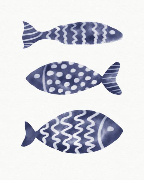 Wall Art - Painting - Three Indigo Fish- Art By Linda Woods by Linda Woods