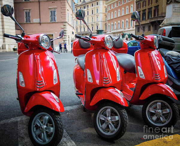 Photograph - Three Italian Scooters by Inge Johnsson