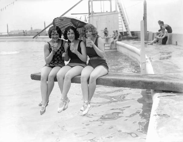 Diving Board Photograph - Three Little Maids by Fox Photos
